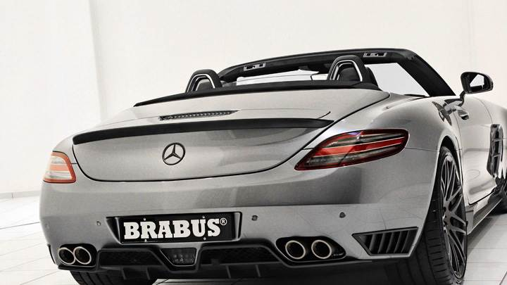 Brabus Mercedes-Benz SLS AMG Roadster Back Pose In Silver